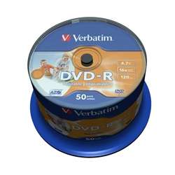 DVD-R Verbatim 4,7 Gb - Imprimível - Spindle de 50 - 43533