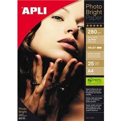 Papel Photo Bright Pro APLI 210 mm x 297 mm 280g 25 folhas - PL04458